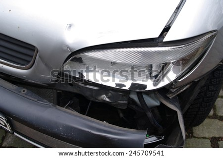 DUISBURG, GERMANY - 19.03.2013 Passenger car with damage to the driver's side after the collision - stock photo