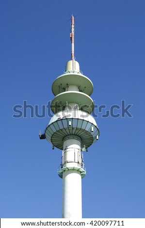 DUISBURG, GERMANY - 05.05.2016 Television tower near Railway and Bus Central Station Duisburg