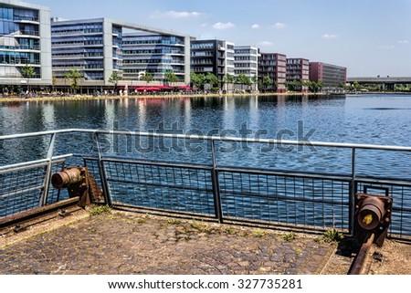 Duisburg industrial port - stock photo