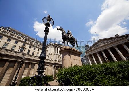 Duke of Wellington Statue, Bank Station, Bank, London, UK - stock photo