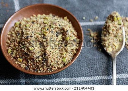 Dukkah, a nut and spice mixture from Egypt - stock photo