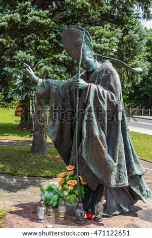 Dukla, Poland - July 20, 2016: Statue of St. John Paul III in front of the Shrine of St. John of Dukla in Poland, Monastery of Bernardine Fathers