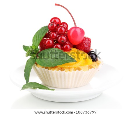 Dulcet cake with fruit and berries isolated on white - stock photo