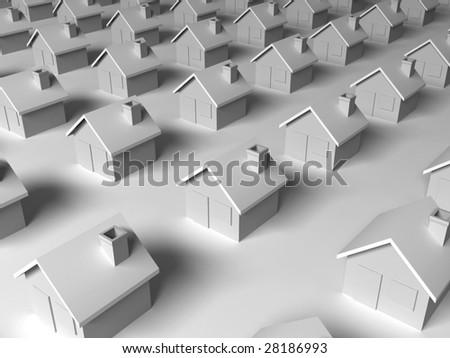 dull suburban concept - stock photo