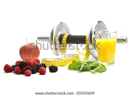 Dum-bell and measuring tape with refreshment isolated on white background. - stock photo