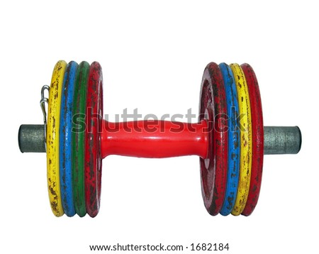 Dumb-Bell Bar used to do exercises in the Gym - stock photo