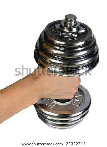 dumb-bell in a masculine hand on a white background - stock photo