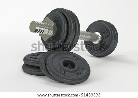 Dumbbell and weights with clipping path - stock photo