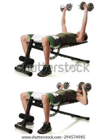 Dumbbell chest press exercise. Studio shot over white. - stock photo