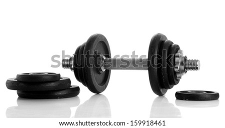 Dumbbell isolated on white - stock photo