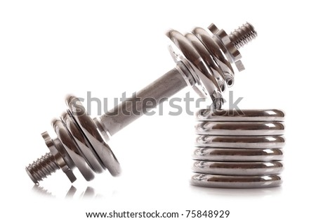 Dumbbell isolated on white - stock photo