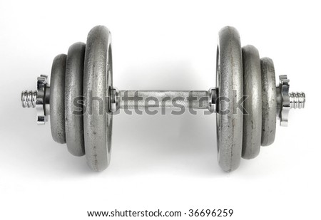 Dumbbell isolated over a white background - stock photo