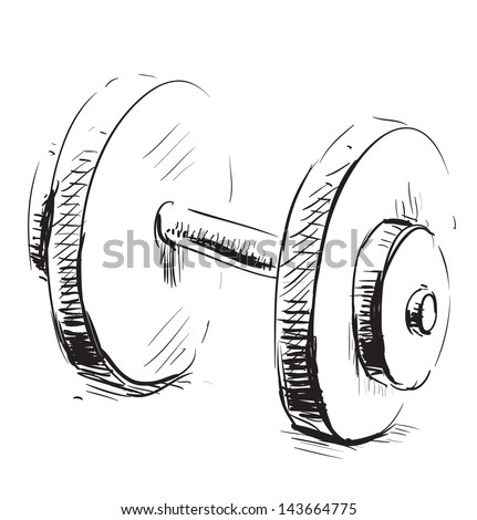 Dumbbell sketch illustration - stock photo