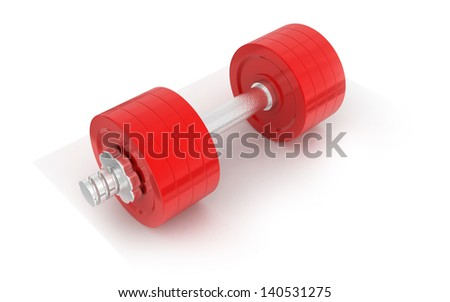 Dumbbell weight on a white background