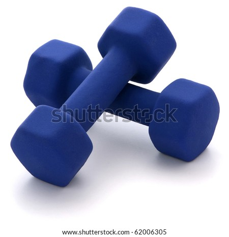 Dumbbell Weights isolated on white - stock photo