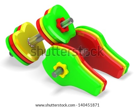 Dumbbell with fruit. Healthcare concept