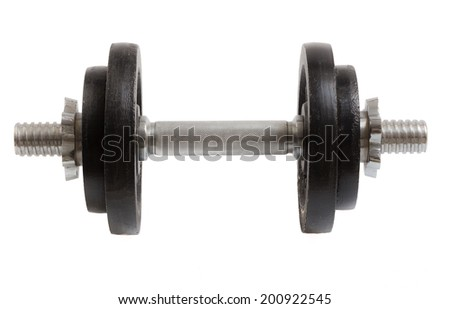 Dumbbell with two weights isolated as Cut.