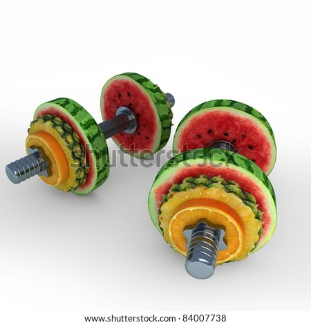 Dumbbells consisting of fruits - stock photo