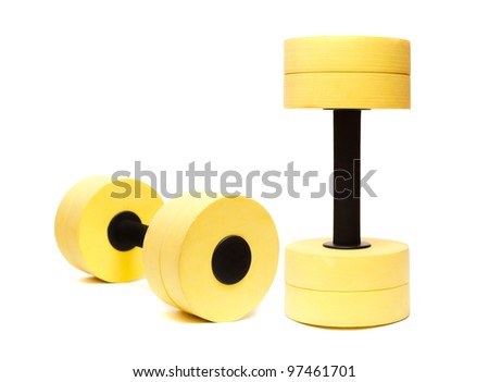 Dumbbells for aqua aerobic isolated on white - stock photo
