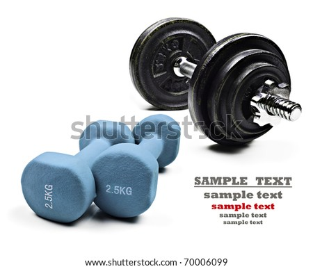 Dumbbells for exercise on a pure white background with space for text
