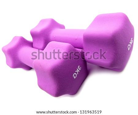 dumbbells in a neoprene cover - stock photo