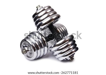 Dumbbells isolated on the white background - stock photo