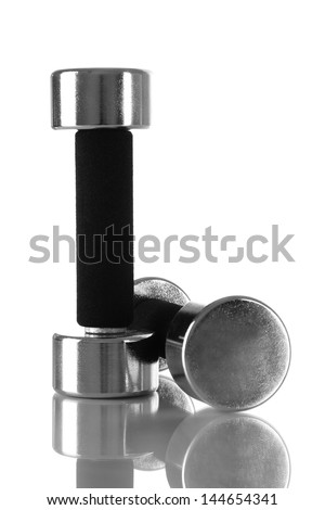 Dumbbells isolated on white - stock photo