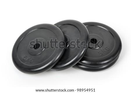 Dumbbells isolated on white background - stock photo