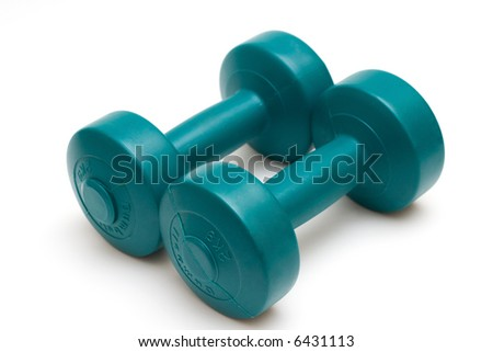 Dumbells isolated on white - stock photo
