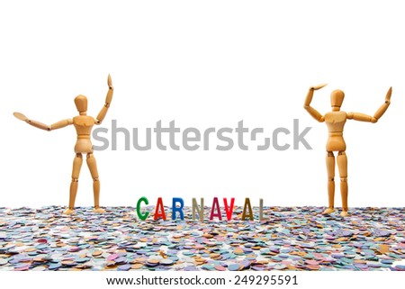 Dummy couple at Carnaval Party on white background  - stock photo