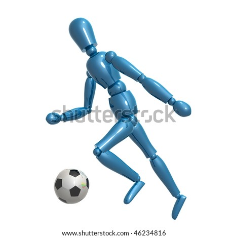 Dummy figure playing soccer ball