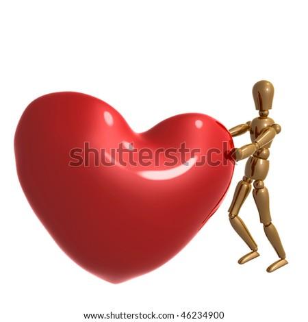Dummy Figure Pushing Big Heart Symbol Stock Illustration 46234900