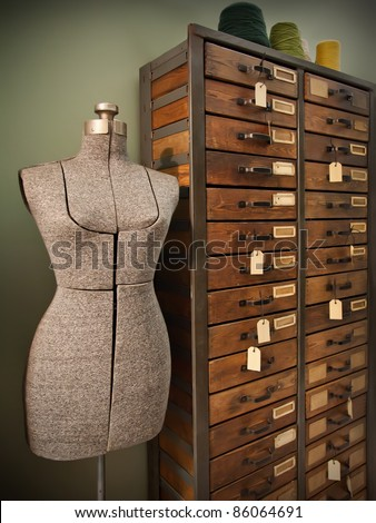 dummy for modeling design of woman dress - stock photo