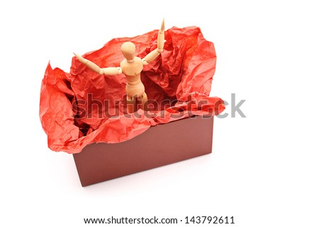 Dummy in the box surprise. - stock photo