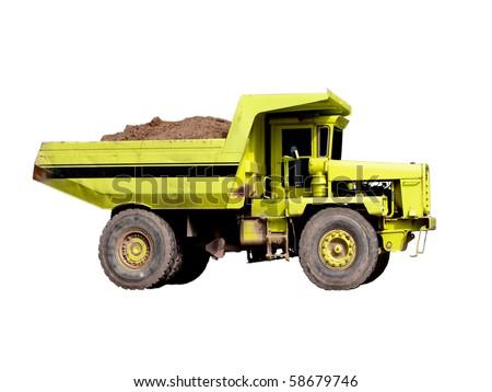 Dump-body trucks isolated on white background - stock photo