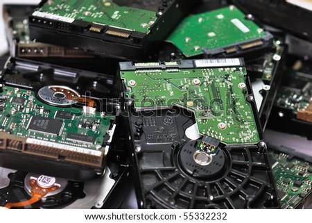 Dump of hard disks - stock photo