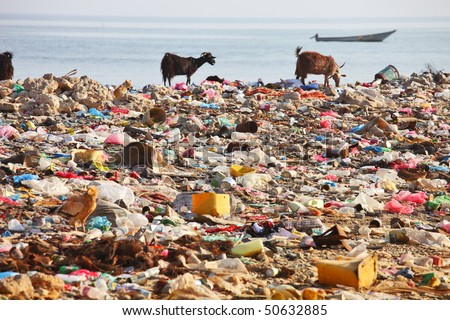 Dump on the beach of Socotra Island â?? man-made environmental disaster - stock photo