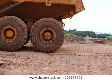 dumper truck wheels - stock photo