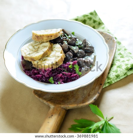 Dumpling slices with soy goulash and Red cabbage - stock photo