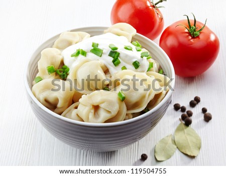 dumplings russian pelmeni - stock photo