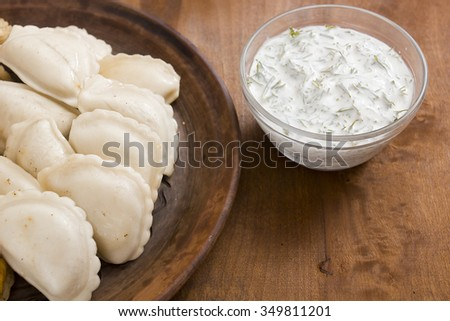 Dumplings with various fillings - traditional cooking food in many countries. - stock photo
