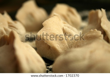 dumplings with very shallow dof, before cooking - stock photo