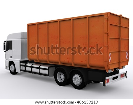 Dumpster Container on Truck 3D Rendering