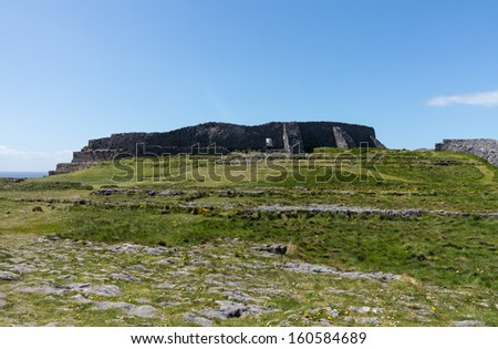 Dun Aonghasa or Dun Aengus is the most famous of several prehistoric forts on the Aran Islands of County Galway, Ireland. It is on Inishmore, at the edge of an 100 metre high cliff - stock photo