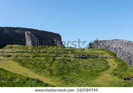 Dun Aonghasa or Dun Aengus is the most famous of several prehistoric forts on the Aran Islands of County Galway, Ireland. It is on Inishmore, at the edge of an 100 metre high cliff