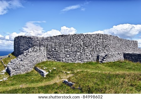 Dun Eochla, Inishmore, Ireland - is a ring fort located at the highest point on Inishmore, the biggest of Aran Islands, and has been built sometime between 550 and 800 A.D. (estimated) - stock photo