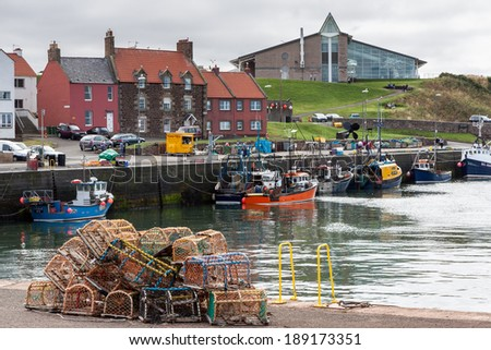 DUNBAR, SCOTLAND/UK - AUGUST 14 : View of Dunbar harbour in Scotland on August 14, 2010. Unidentified people.