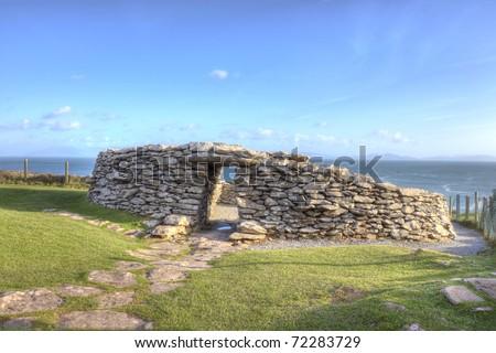 Dunbeg fort on the Dingle Peninsula - dates back to 500 BC, Ireland. - stock photo