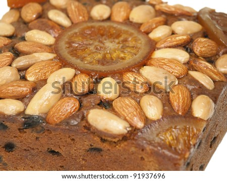 Dundee cake close up - stock photo
