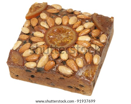 Dundee cake isolated on white - stock photo